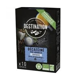 Café en cápsulas biodegradables pura arábica DESCAFEINADO BIO Destination 10 X 55 GR